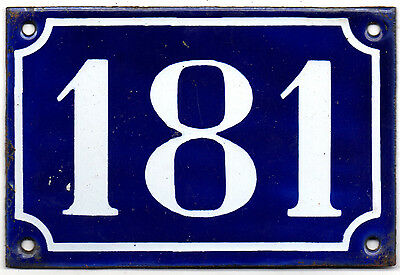 Old blue French house number 181 door gate plate plaque enamel steel sign c1900
