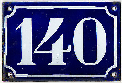 Old blue French house number 140 door gate plate plaque enamel steel sign c1900