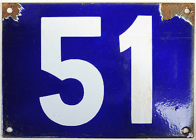 Giant old blue French house number 51 door gate plate plaque enamel metal sign