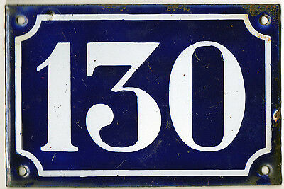 Old blue French house number 130 door gate plate plaque enamel steel sign c1900