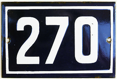 Old blue French house number 270 door gate plate plaque enamel steel metal sign
