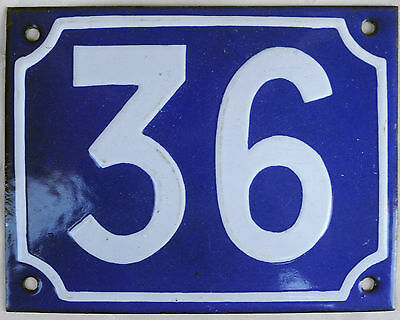 Old blue French house number 36 door gate plate plaque enamel steel metal sign