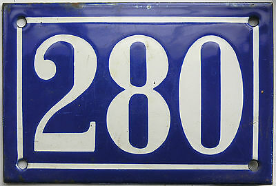 Old blue French house number 280 door gate plate plaque enamel steel metal sign