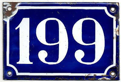Old blue French house number 199 door gate plate plaque enamel steel sign c1900