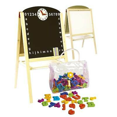 MAGNETIC EASEL DOUBLE-SIDED by LEOMARK NEW BLACK & WHITE BOARD + LETTERS NUMBERS