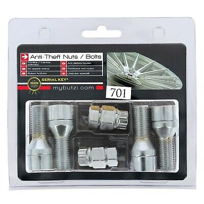 Butzi 14x1.50 L28 Anti Theft Locking Wheel Nut Bolts & 2 Keys for Peugeot Boxer