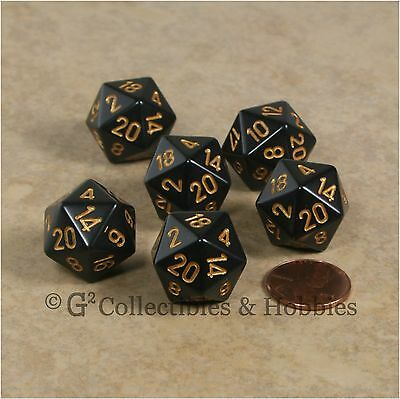 NEW Set of 6 D20 Dice Granite Gray Speckled w// Red Numbers RPG Game Twenty Sided