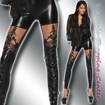 13458 Sexy Wetlook Leggings 34-38 Lack Leder Optik Spitze Schwarz Leggins Gothic