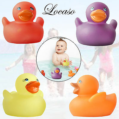 4 Rubber Colour Changing Ducks Fun Kids Bah Squeaky Toy Baby Duck Time Heat New