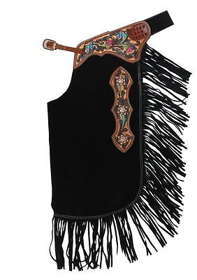 Black Suede Leather Western Horse Saddle Fancy Chinks Chaps For Work Or Rodeo