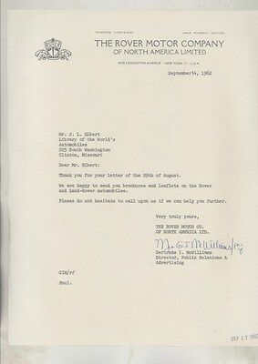 1962 Rover Land Rover USA Factory Letter ww5307