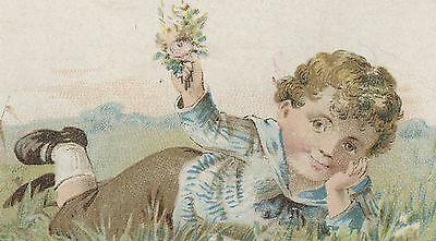 1880's WOOLSON SPICE CO EMBOSSED TRADE CARD, CUTE LITTLE BOY, FREE SHIP,  TC580