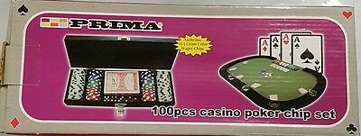 100 piece poker set with 11.5g Colour Casino wager chips deluxe black wood Case