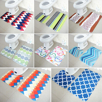 2pcs/Set Toilet Bathroom Bath Mat Toilet Non Slip Washable Floor Rugs Carpet