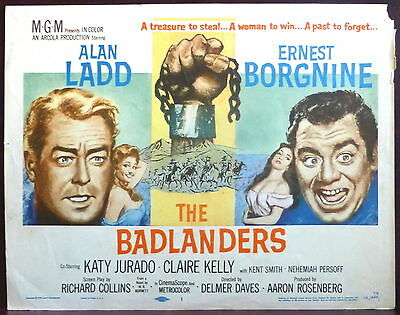 Alan Ladd ORIGINAL Lobby TITLE Card Ernest Borgnine The Badlanders Western