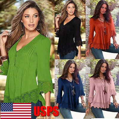 Women's Lace Crochet Long Sleeve Shirt Casual Loose Blouse Pullover Tops Shirt