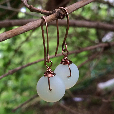 Min Favorit Moonstone Opal Sea Glass & Antique Copper Artisan Earrings
