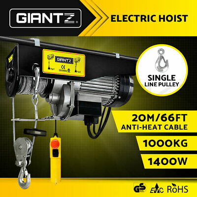 GIANTZ Electric Hoist Winch 500/1000KG 18M Steel Rope Cable Lift Tool Equipment