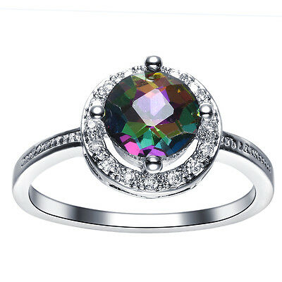 Women Colorful Crystal Rhinestone White Gold Filled Ring Size 6 7 8 9 Jewelry