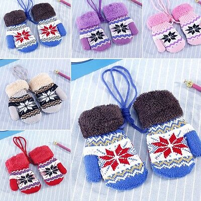 Children Baby Kids Snow Gloves  Cartoon Knit Mitten Velvet Winter Warm Gloves