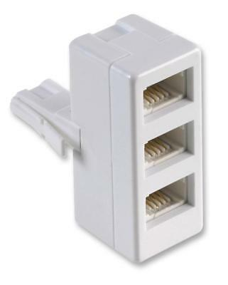 BT Plug to Triple Telephone Socket Adaptor