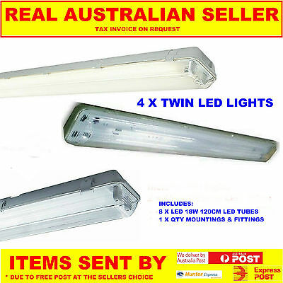 4 X T8 Led Outdoor Weatherproof Outdoor Twin Light Fitting Including Tubes