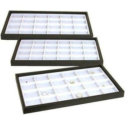 3 Jewelry Display Trays White 24 Slot Charm & Coin Case