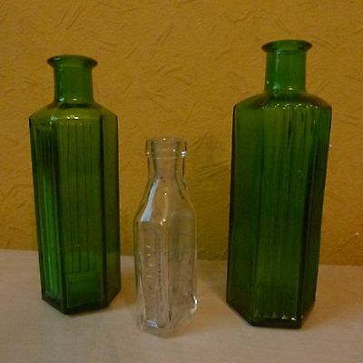 Antique Vintage Chemist Medicine Green And Clear Glass 3 X Bottles Boots