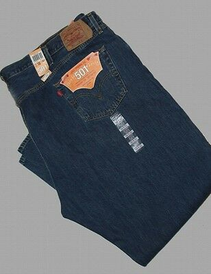 Levis 501 Straight Leg Button Fly Jeans 50 x 34 R-$68 Dark Blue NEW WITH TAG