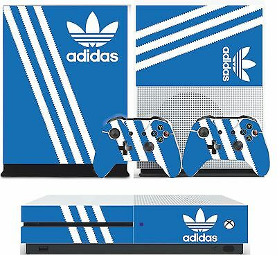 ADIDAS BLUE xbox one S skins decals stickers +  2 controllers game