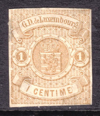 1863 LUXEMBOURG IMPERF #4 1c BUFF, F, UNUSED WITH NO GUM
