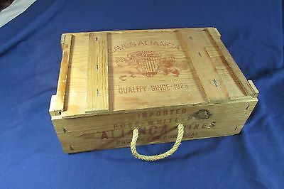 Vintage Wine Crate Wooden Box Caves Alianca Portugal Wine Caddy Shipping Box