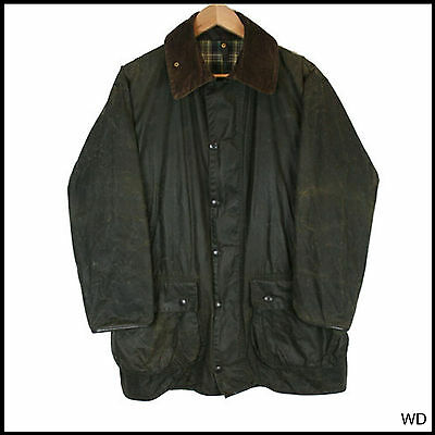 Vintage Barbour Border Country Green Wax Jacket Coat C 40 Medium