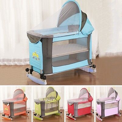 New Baby Cradle Infant Bassinet Playing Crib Rocking Bed W/Mosquito Net Mattress