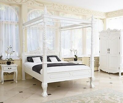 French Rococo Italian style four poster bed available in white black silver gold
