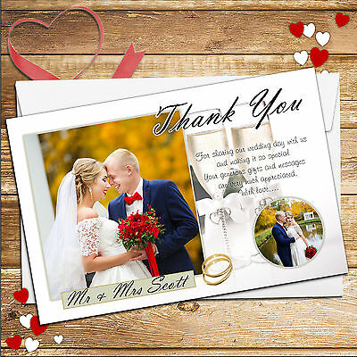 10 Personalised Champagne Wedding Day Thank You Thankyou PHOTO Cards N218