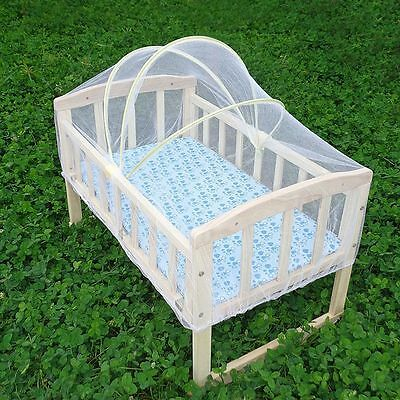 New Baby Crib Sturdy Multiuse Wooden Infant Bed Wheeled Rocking Cradle Furniture