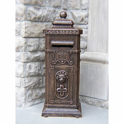 Lexington Antique Bronze Cast Aluminum Mail Box With Pre-installed Lock and Keys