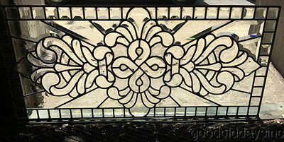 "Victorian Style Leaded Beveled Glass Transom Window 35 3/8"" by 15 1/2"""
