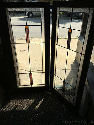 Pair of Antique 1920's Stained Leaded Glass Bookcase Cabinet Doors