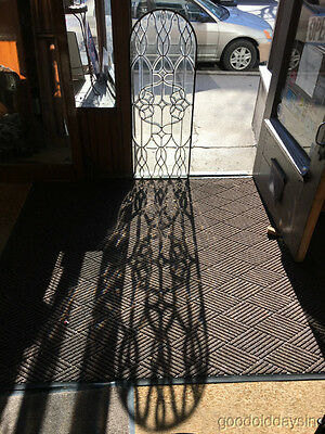 """Beautiful Antique Beveled Leaded Glass Arched Top Window 48"""" by 18 1/2"""""""