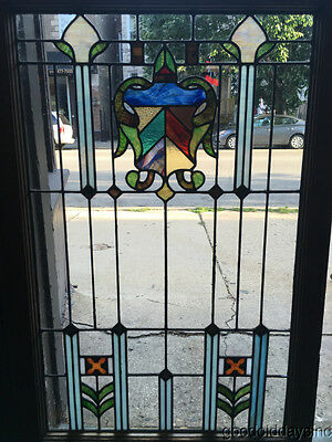"Antique 1920's Stained Leaded Glass Shield Door / Window 43"" by 28"""