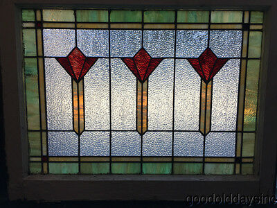 "Antique Art Deco Chicago Stained Leaded Glass Window 32"" by 25"""