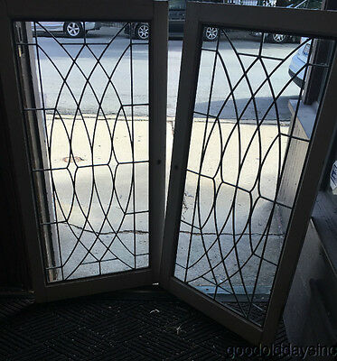 "2 Antique Leaded Glass Bookcase Cabinet Doors / Windows / Transom 43"" by 22"""