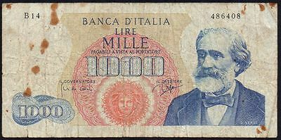 1962  Italy 1000 Lire Banknote * 486408 * Vg * P-96 *