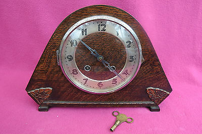Vintage Oak Cased 8 Day Art Deco Striking Clock For Tlc
