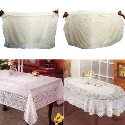 Pvc 100% Vinyl Cream Embossed Lace Tablecloth Table Cover Oval Rectangle
