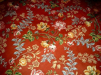 Laura Ashley vintage Country Linen curtain Fabric New Unused Brick red floral