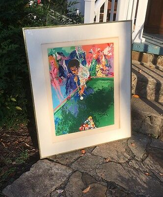 LeRoy NEIMAN BLACK BREAK SERIGRAPH LIMITED ed 300 Pool Room Mid Century Modern