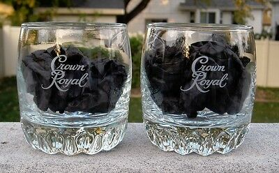 2 New Etched Crown Royal Whiskey Glasses 8 Oz Decorative Base